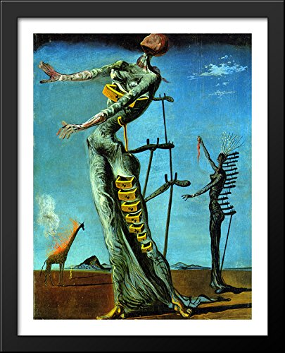 The Burning Giraffe 28x36 Large Black Wood Framed Print Art by Salvador - Dali Giraffe Burning