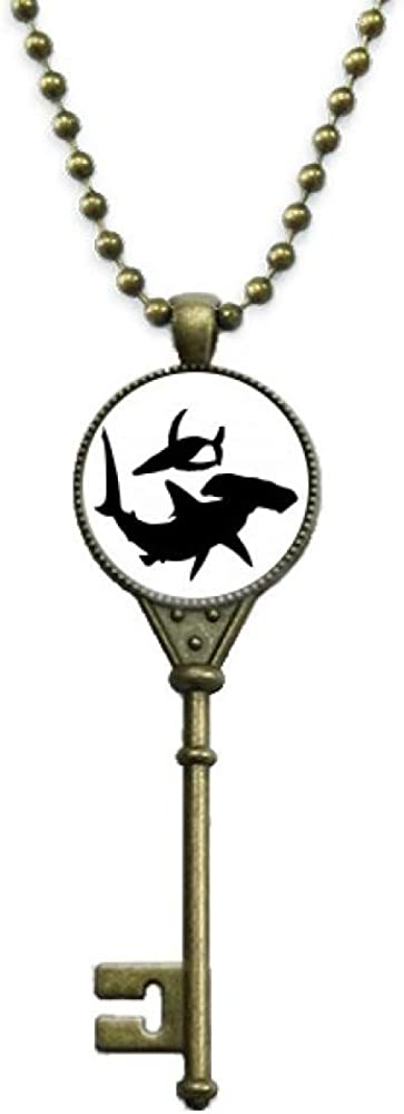 OFFbb-USA Shark Whale Group Swimming Key Necklace Pendant Tray Embellished Chain