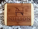 Personalized Mini Cutting Board - Decorative Small Wood Cutting Board for Housewarming Gifts, Also Bridal Shower and Wedding Gifts (6 x 8 Two Tone Bamboo with Curved Edges, Nielson Design)