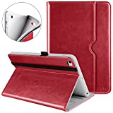 DTTO iPad Mini 4 Case - Premium Leather Folio Stand Cover Case with Multi-Angle Viewing and Auto Wake-Sleep Function - Front Pocket for Apple iPad Mini 4 - Red