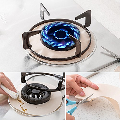 Flee 2PCS Reusable Stovetop Protectors Under Burner Protector Non Stick Stove Protectors Cover Gas Range Protectors Adjustable Size to Fit Your Stove