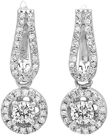 0.60 Carat (ctw) 14K White Gold Round White Diamond Ladies Halo Style Dangling Drop Earrings