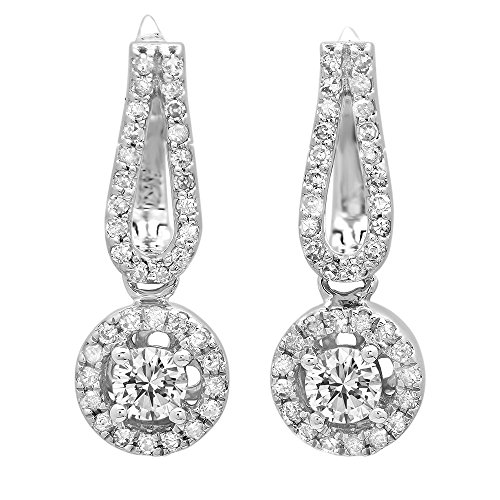 0.60 Carat (ctw) 14K White Gold Round White Diamond Ladies Halo Style Dangling Drop Earrings by DazzlingRock Collection