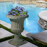 NEW 25'' Decor Outdoor Strong Qartz Tall Aged Green Stone Garden Urn Planter / Flowers Pot