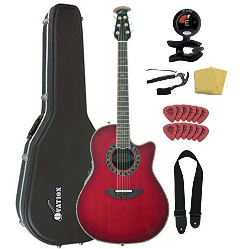 Ovation AX Series C2079AX-CCB Acoustic-Electric Guitar Bundl