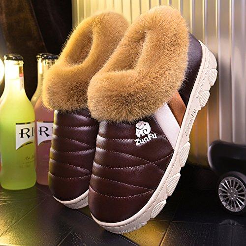 Scarpe fankou cotone pantofole inverno femmina ad alta busta con pelle pu addensamento alla fine del warm indoor anti-scivolo per trascinare, fondo spesso 48-49 metri [per 45-46 piedi indossare], [fon