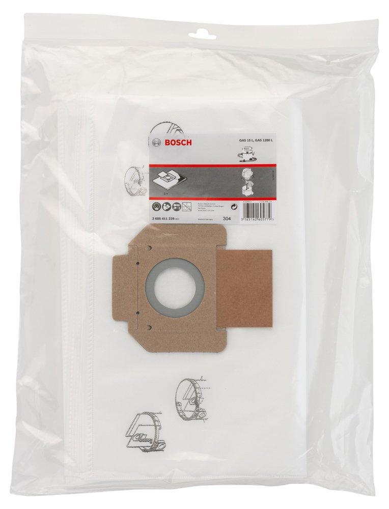 pack of 5 GAS 15 L Bosch filter fabric bags for GAS 20 L SFC 1200 L GAS