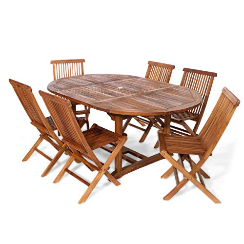 All Things Cedar TE70-22-R Teak Oval Extension Patio Table & Folding Chair Set with Cushions, Red -