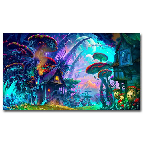 Mushroom House Trippy Psychedelic Art Silk Poster Prints Home Decoration (24x43 inches)