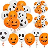 Whaline 60Pcs Halloween Balloons 12 Inches Latex Balloons 6 Styles Halloween Pumpkin and Ghost Balloon Party Decoration Supplies
