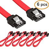 LIANSHU 6Pack Straight SATA III Cable 6.0 Gbps L=24 Inches (6Pack Red)