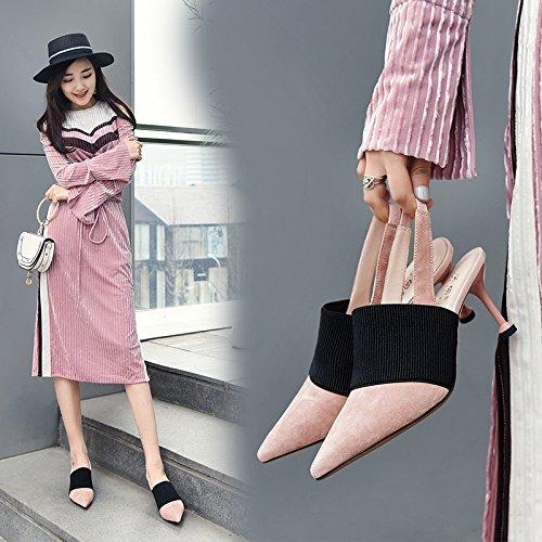 Vivioo Dames Sandalen Hoge Hak Sandalen Met Hoge Hakken Vrouwelijke Sandalen Zomer Hoge Hakken Schoenen Roze Blad Baotou Damesschoenen Roze
