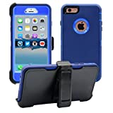 iPhone 6 Plus / 6S Plus Cover   2-in-1 Screen Protector & Holster Case   Military Grade Edge-to-Edge Protection with carrying belt clip   Drop Proof Shockproof Dustproof   Navy Blue / Blue