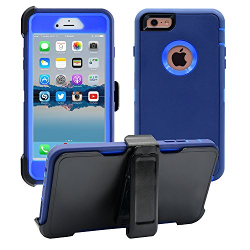(iPhone 6 Plus / 6S Plus Cover | 2-in-1 Screen Protector & Holster Case | Military Grade Edge-to-Edge Protection with carrying belt clip | Drop Proof Shockproof Dustproof | Navy Blue / Blue)