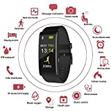 Smart Watch, Fitness Tracker Watch with IP68 Waterproof, Long-Life Battery, Smartwatch with Blood Pressure& Heart Rate Monitor Support Android and IOS, Health Sport Watch Pedometer for Kids Women Men