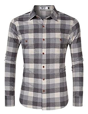 MrWonder Men's Casual Slim Fit Plaid Shirt Button Down Dress Shirts for German Bavarian Oktoberfest and Lederhosen