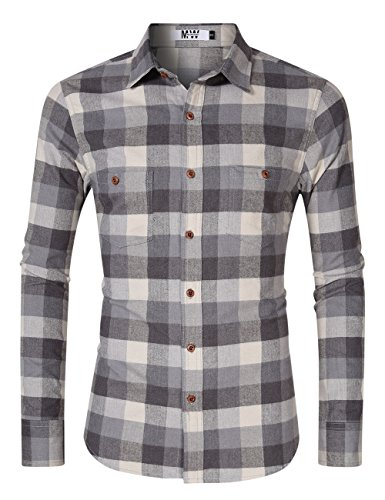 MrWonder Men's Casual Slim Fit Long Sleeve Button Down Shits Plaid Twill Shirt Grey M