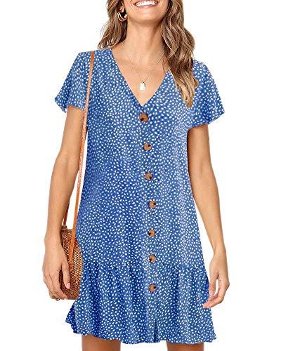 Pop lover Women's V Neck Polka Dots Tunic Dress Short Sleeve Button Down T-Shirt Dresses Blue XL