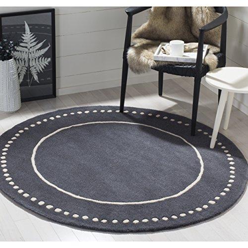 Safavieh Bella Collection BEL151X Handmade Dark Grey and Ivory Premium Wool Round Area Rug (5' Diameter)