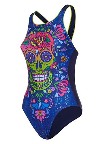 baed43c53a22b Maru Women s Skulls N  Roses Vee Back Swimsuit UK34  Amazon.co.uk  Sports    Outdoors