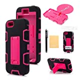 TIANLI(TM) Robot Armor Defender Stand Case For Apple iPhone 5 5G 5S Screen Protector,Stylus and Cleaning Cloth Black Pink A1
