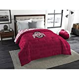 1 Piece NCAA Buckeyes Comforter Twin/ Full, Red Multi Sports Patterned, College Football Themed Bedding, Team Logo Fan Merchandise Athletic Team Spirit Fan, Polyester, For Unisex