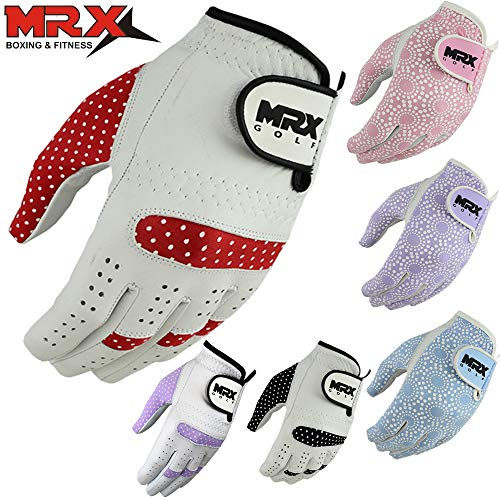 MRX BOXING & FITNESS Womens Golf Glove Soft Cabretta Leather Regular Fit Women Golfer Gloves Left Hand (White/Red-Small)