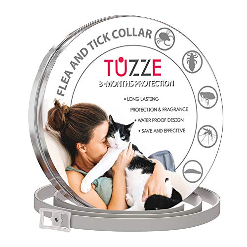 TUZZE Cats Flea and Tick Collar - 8-Month Flea Prevention Cat Collar - Adjustable and Waterproof Cat Flea and Tick Control
