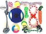 Puppy Teething Chew Toys: Fun and Interactive Puppy and Dog Teething Chew Toys Variety set Mix (10 Pack) (Ropes, Balls, Plushies, etc) rope knot dog toy great for Teething(Random Colors)