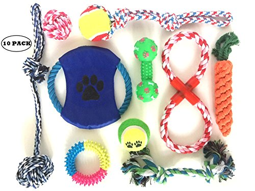 (Puppy Teething Chew Toys: Fun and Interactive Puppy and Dog Teething Chew Toys Variety set Mix (10 Pack) (Ropes, Balls, Plushies, etc) rope knot dog toy great for Teething(Random Colors))