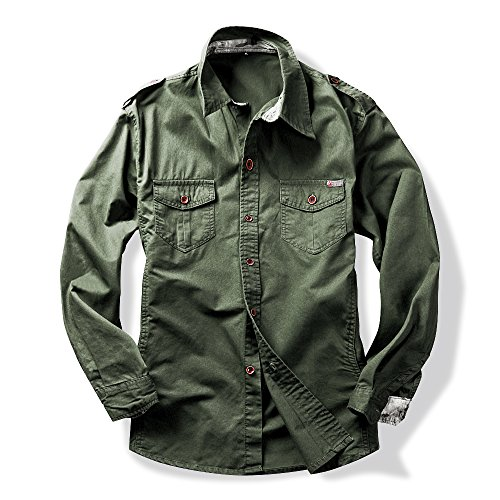 Mens Long Sleeve Military Style Cargo Tactical Work Shirt Army Green Asian Tag 4XL - US XL