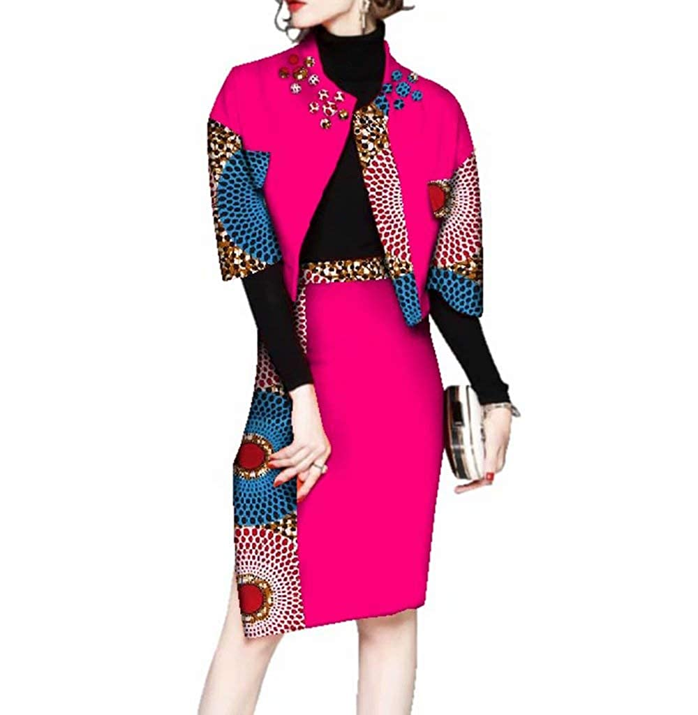 Pl536 Womens Ankara Suit Sets Half Sleeve African Print Outerwear & Skirt Sets