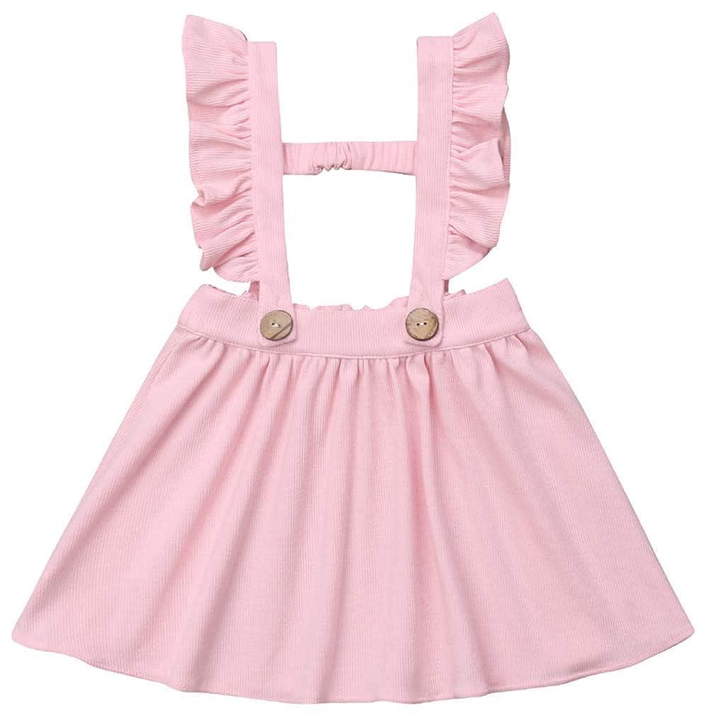 MISSugar Baby Girls Ruffles Buttons Suspender Skirt A-Line Brace Summer Sleeveless Mini Dress Overalls