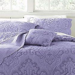 BrylaneHome Amelia Bedspread (Lavender,Queen)