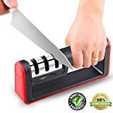 Best Manual Stainless Steel Knife Sharpener for Straight and Serrated Knives, Ceramic and Tungsten - Easy Sharpening for Dull Steel, Paring, Chefs and Pocket Knives, Sharpens Scissors by Flyusy