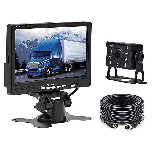 Camecho 12 V – 24 V auto achteruitrijcamera waterdichte nachtzicht achteruitrijcamera bekabeld systeem kit + 7 inch TFT…