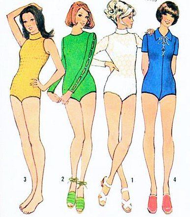 Simplicity 5023 the Bodysuits with Snap Fastened Crotch Sewing Pattern Misses Size 14 (Bust 36), Designed for Knit Fabric Only Vintage 1972 ()