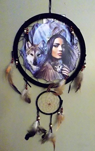 "NEW INDIAN GIRL HOLDING WOLF PUP DREAM CATCHER MANDALA FEATHERS & BEADS 13"" X 28"""