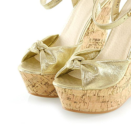 4db14983c0e ... ESSEX GLAM Womens Strappy Knot Two Party Wedge Heel Platform Sandals  Ladies Peeptoe Shoes Gold A0CupxN ...