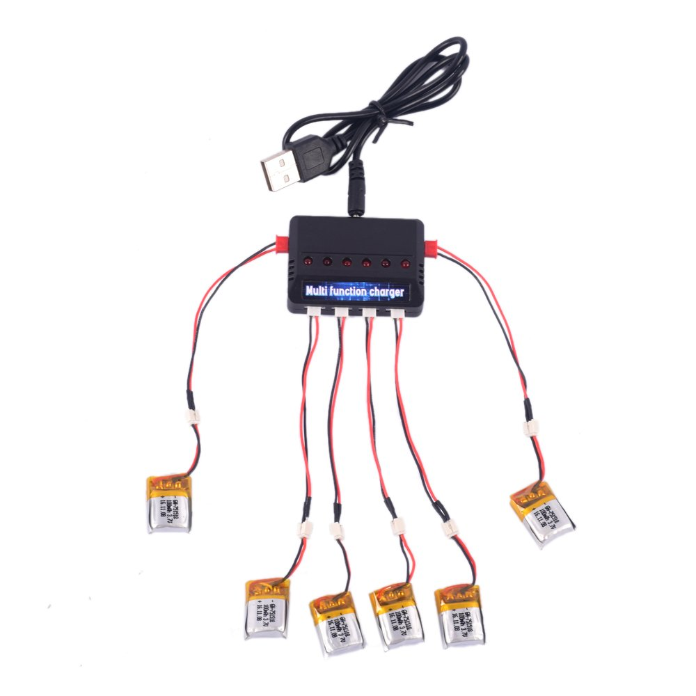 Youcute 6pcs 100mah Battery and 1to6 Charger for Estes Proto...