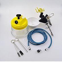 Weberdisplays Airbrush Cleaning Pot, Holder for 4 air brush, 10 ft Braided Hose, Cleaning Brushes Kit