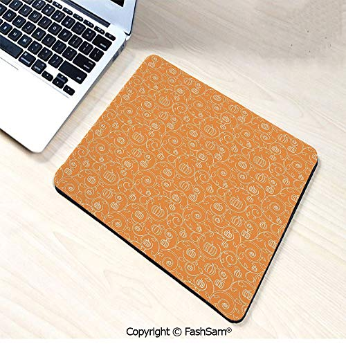 Desk Mat Mouse Pad Pattern with Pumpkin Leaves and Swirls on Orange Backdrop Halloween Inspired for Office(W7.8xL9.45) ()