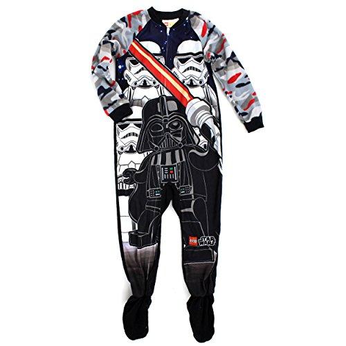 Lego Star Wars Boys Fleece Sleeper Pajamas (8, Black Stormtroopers)
