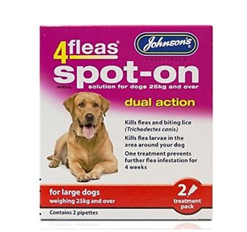 JOHNSONS 4FLEASDUAL ACTION SPOT ON - LARGE DOG - MORE THAN 25KG ON WEIGHT (X3 PACKS) LEEWAY