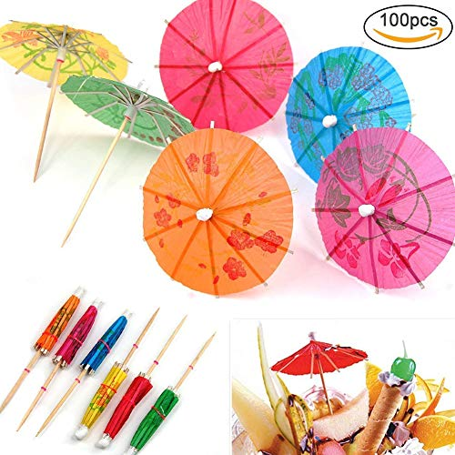Xiton 100PCS Colourful Paper Cocktail Umbrellas Parasol Paper Cupcake Toppers Mixed Colours Tropical Drink Presentation Parasols Assorted Umbrella for Decoration Party Foods(Random Color) ()