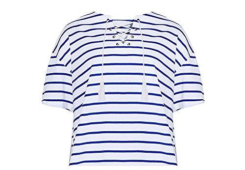 Women's Navy Striped Shirt Short Sleeve Summer Top Tee Round-Neck Backing Shirt