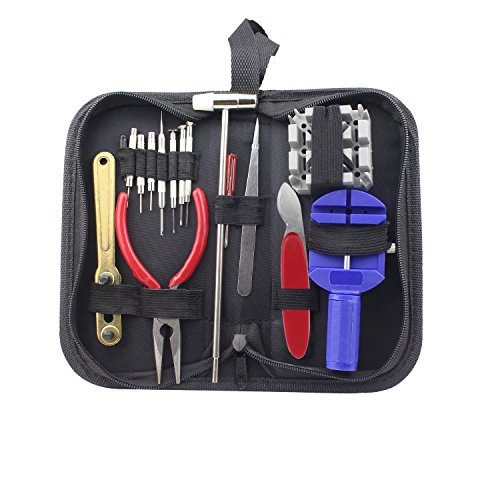Watch Repair Tool Kit, Luckkyme Professional Spring Bar Removal Tool Sets Back Case Opener Watch Band Link Pin Remover Sets Screwdrivers Watchmaker Tool Sets with Carrying Case ()