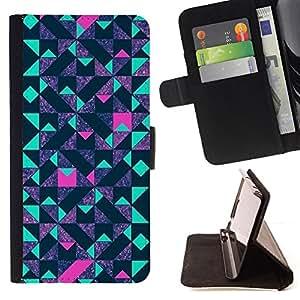 BullDog Case - FOR/Apple Iphone 4 / 4S / - / polygon blue pink purple pattern /- Monedero de cuero de la PU Llevar cubierta de la caja con el ID Credit Card Slots Flip funda de cuer