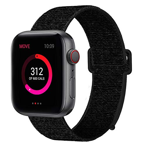 INTENY Sport Band Compatible with Apple Watch 42mm 44mm, Nylon Sport Loop, Strap Replacement for iWatch Series 4, Series 3, Series 2, Series 1 (Dark Black, 42mm 44mm)