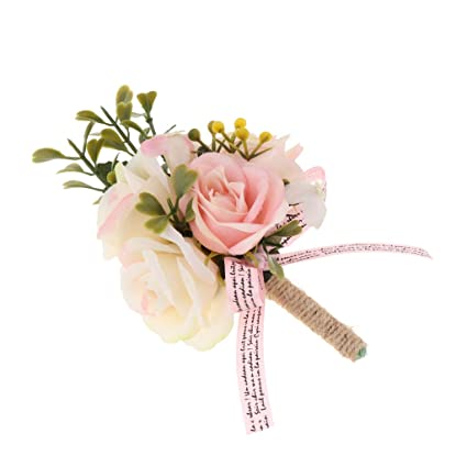 4bf0ce3aa Amazon.com: SM SunniMix Groomsman Men/Women Corsage Flower Brooch Groom  Boutonniere Wedding Party Gift - Light Pink: Home & Kitchen